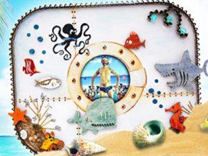 """""""20 000 lieues sour les mers"""""""", kit créatif de fabrication de cadre photo, thème indus"""
