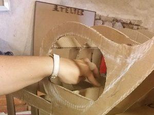 Atelier loisir, création meuble TV en cours de fabrication