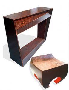 console et tabouret en carton, mobilier sur mesure
