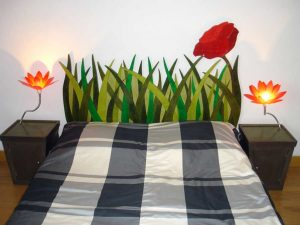 Tête de lit en carton, création sur mesure