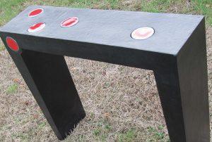 """console noire en carton avec incrustation céramique de """"Sweet céramique"""", meuble sur mesure"""