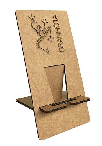 Porte téléphone carton kraft avec gravure personnalisée