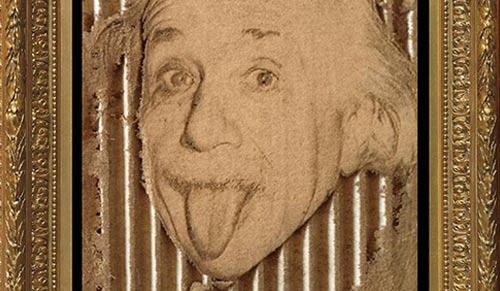 Einstein, gravure sur carton