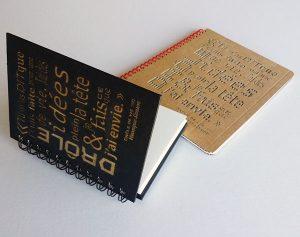 Carnets personnalisés, couverture carton avec gravure laser