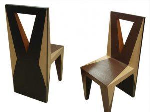Chaise en carton, mobilier sur mesure