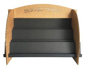 Présentoir cartes de visite en carton noir et kraft