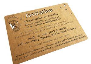 invitation en carton gravé et découpé