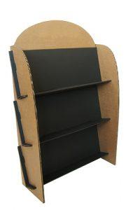 présentoir en carton noir et kraft