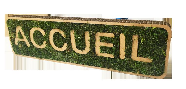 Panneau accueil en carton et mousse végétale stabilisée